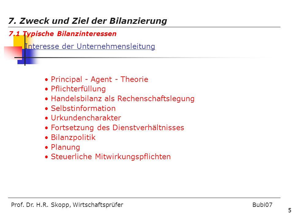 Prof. Dr. H.R. Skopp, Wirtschaftsprüfer Bubi07 5 7. Zweck und Ziel der Bilanzierung 7.1 Typische Bilanzinteressen Interesse der Unternehmensleitung Pr