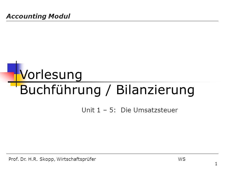 Prof. Dr. H.R. Skopp, Wirtschaftsprüfer WS 1 Vorlesung Buchführung / Bilanzierung Accounting Modul Unit 1 – 5: Die Umsatzsteuer