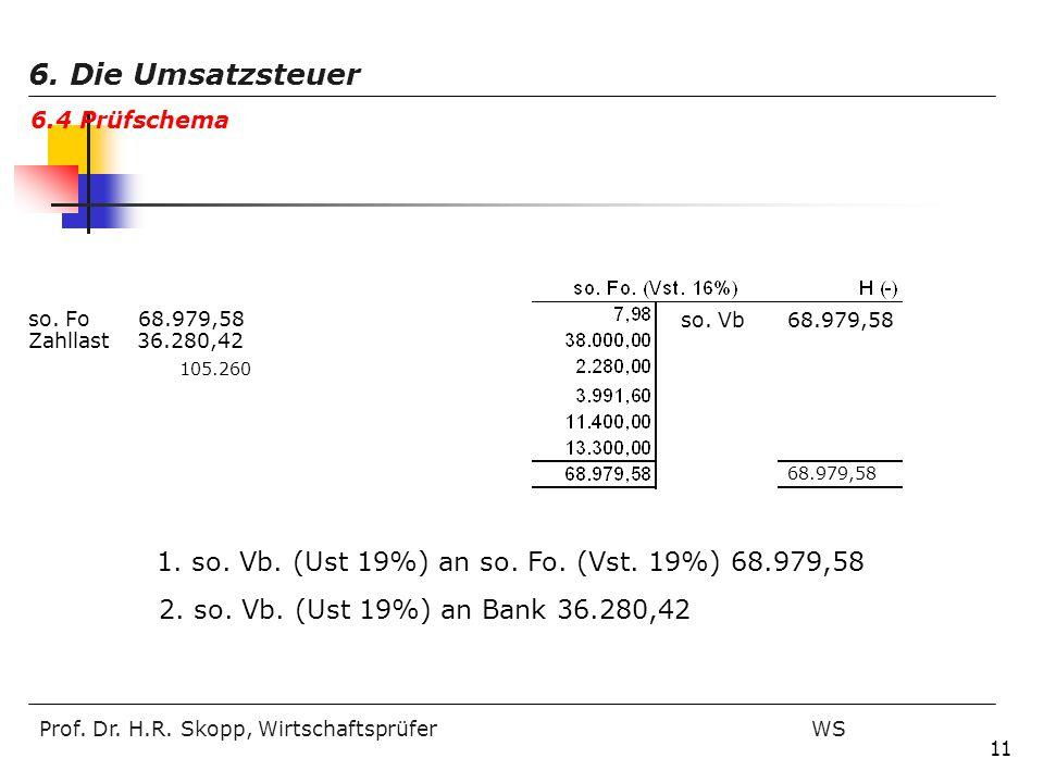 Prof. Dr. H.R. Skopp, Wirtschaftsprüfer WS 11 so. Vb 68.979,58 so. Fo 68.979,58 Zahllast 36.280,42 105.260 68.979,58 1. so. Vb. (Ust 19%) an so. Fo. (