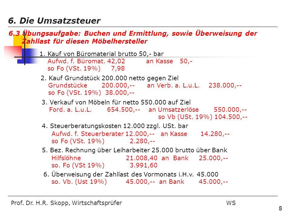 Prof. Dr. H.R. Skopp, Wirtschaftsprüfer WS 8 1. Kauf von Büromaterial brutto 50,- bar Aufwd. f. Büromat. 42,02 an Kasse 50,- so Fo (VSt. 19%) 7,98 4.