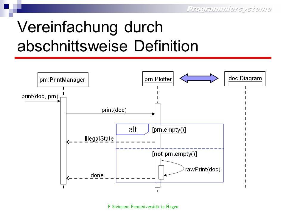 F Steimann Fernuniversität in Hagen Vereinfachung durch abschnittsweise Definition