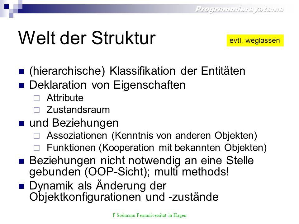 F Steimann Fernuniversität in Hagen Überladen der Deklaration Page 1* hasMorePages() : bool nextPage() : Page Text Diagram LinePrinter Plotter Document print(Document) Printer print