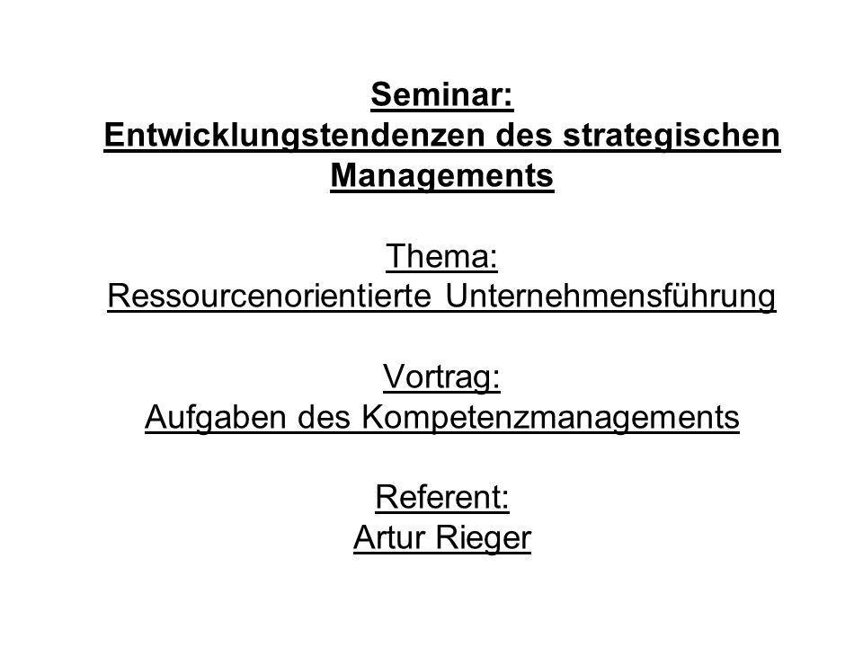 Agenda: 1.Darstellung des Kompetenzansatzes 2.Aufgaben des Kompetenzmanagements 3.Diskussion der Verbindungsmöglichkeiten des Kompetenzmanagements mit anderen Ansätzen der strategischen Analyse