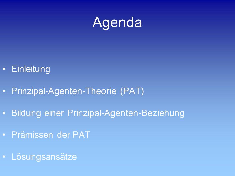 Agenda Einleitung Prinzipal-Agenten-Theorie (PAT) Bildung einer Prinzipal-Agenten-Beziehung Prämissen der PAT Lösungsansätze