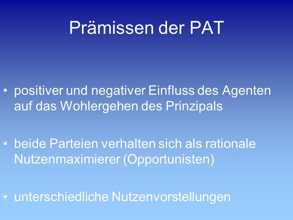 Prämissen der PAT positiver und negativer Einfluss des Agenten auf das Wohlergehen des Prinzipals beide Parteien verhalten sich als rationale Nutzenmaximierer (Opportunisten) unterschiedliche Nutzenvorstellungen