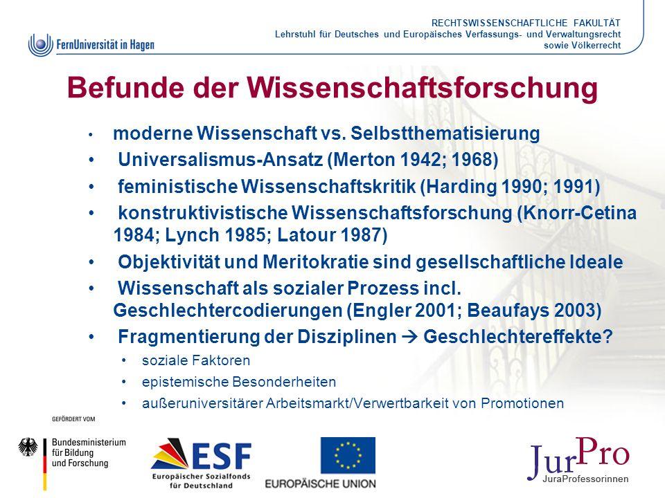 RECHTSWISSENSCHAFTLICHE FAKULTÄT Lehrstuhl für Deutsches und Europäisches Verfassungs- und Verwaltungsrecht sowie Völkerrecht Befunde der Wissenschaft