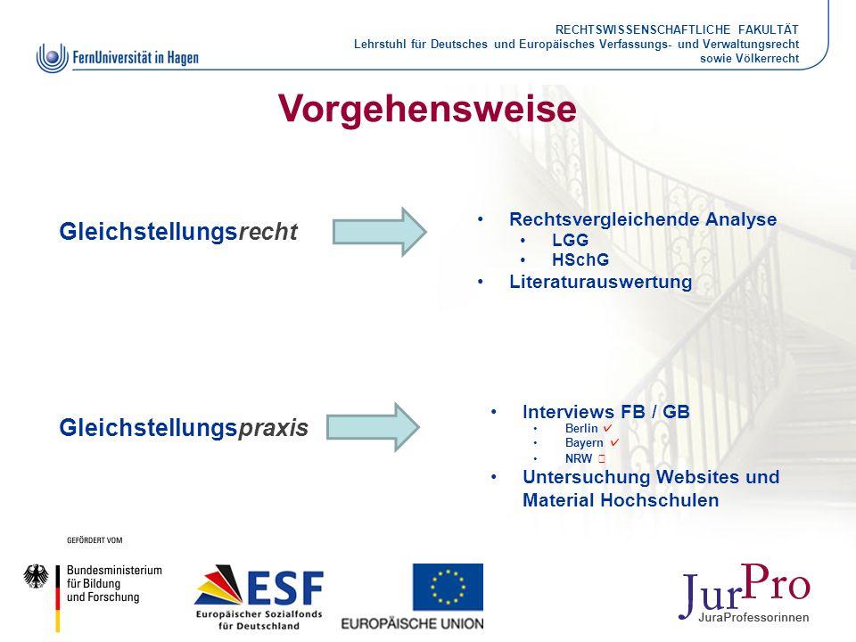 RECHTSWISSENSCHAFTLICHE FAKULTÄT Lehrstuhl für Deutsches und Europäisches Verfassungs- und Verwaltungsrecht sowie Völkerrecht Vorgehensweise Gleichste