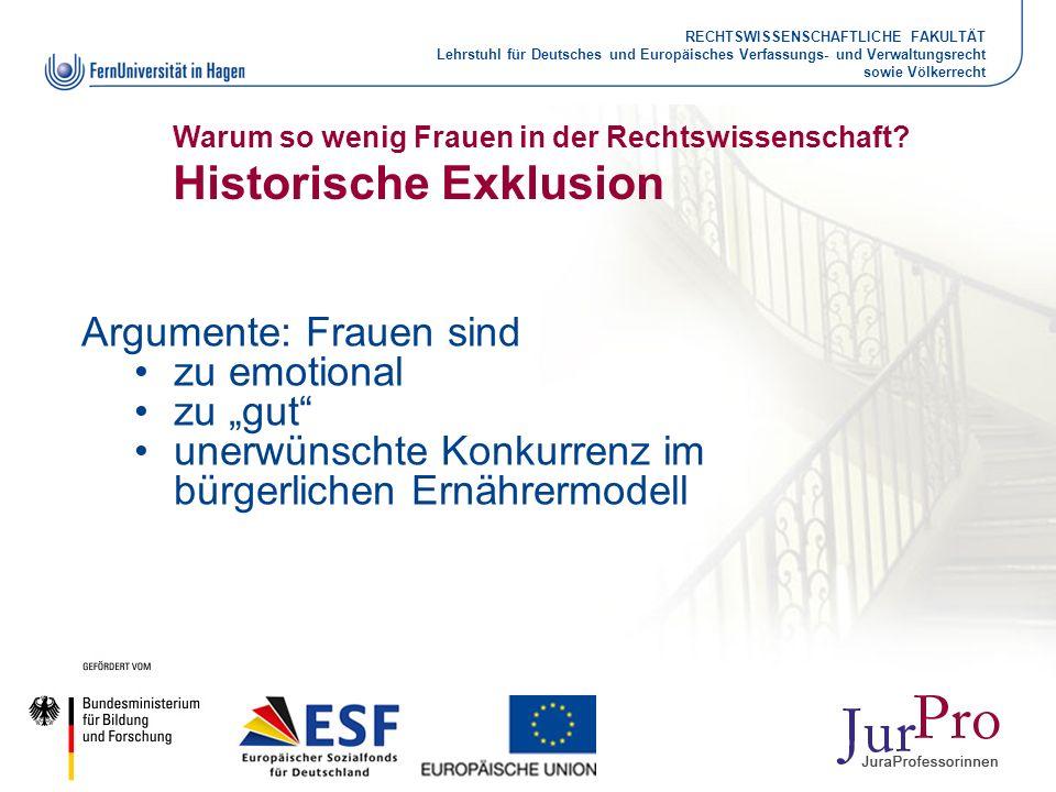 RECHTSWISSENSCHAFTLICHE FAKULTÄT Lehrstuhl für Deutsches und Europäisches Verfassungs- und Verwaltungsrecht sowie Völkerrecht Warum so wenig Frauen in