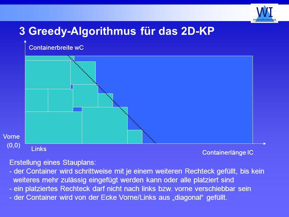 3 Greedy-Algorithmus für das 2D-KP Containerbreite wC Containerlänge lC Erstellung eines Stauplans: - der Container wird schrittweise mit je einem wei