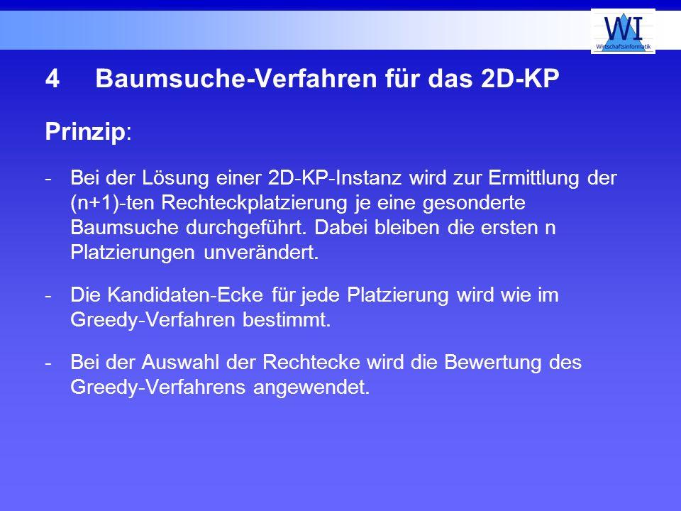 4Baumsuche-Verfahren für das 2D-KP Prinzip: -Bei der Lösung einer 2D-KP-Instanz wird zur Ermittlung der (n+1)-ten Rechteckplatzierung je eine gesonder