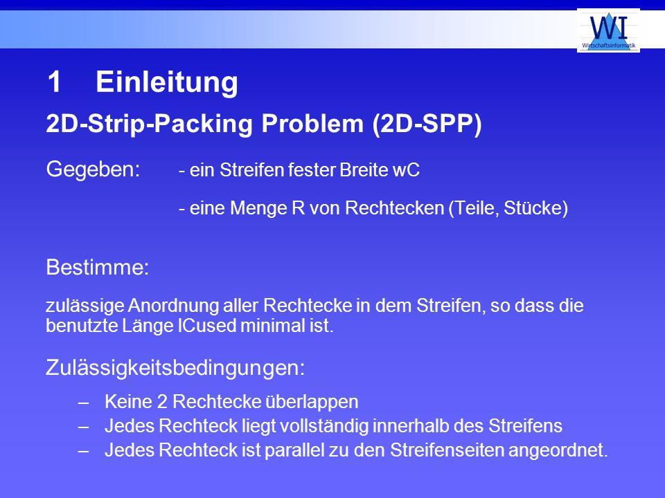 1Einleitung 2D-Strip-Packing Problem (2D-SPP) Gegeben: - ein Streifen fester Breite wC - eine Menge R von Rechtecken (Teile, Stücke) Bestimme: zulässi