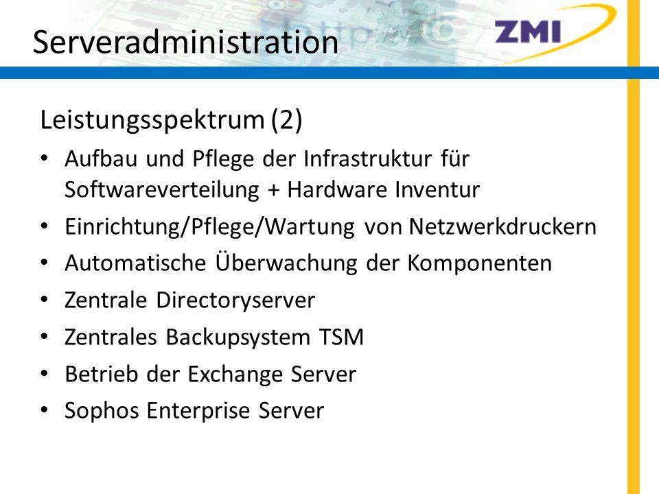 Endgeräte-Support Leistungsspektrum (2) (nur für Beschäftigte) Reparatur- und Garantieabwicklung WSUS-Patche freischalten Betreuung Videokonferenzsysteme im Desktop- Bereich Betreuung Fax-Server 27
