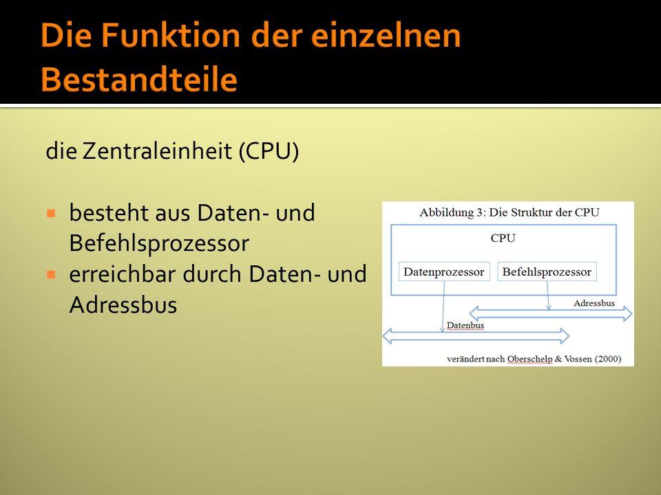 die Zentraleinheit (CPU) besteht aus Daten- und Befehlsprozessor erreichbar durch Daten- und Adressbus