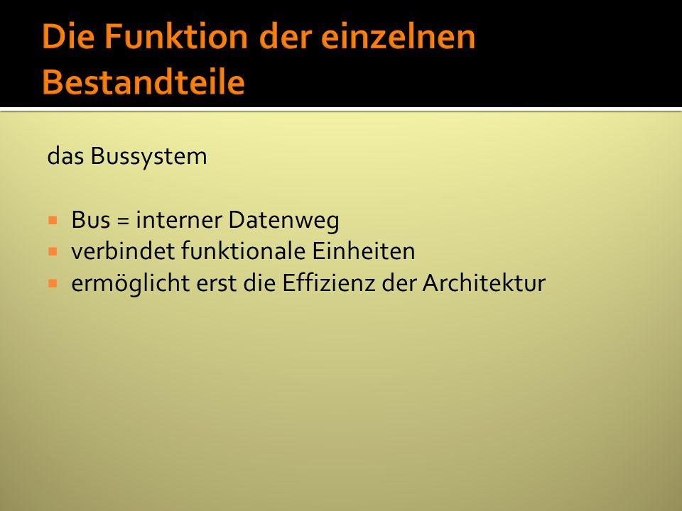 das Bussystem Bus = interner Datenweg verbindet funktionale Einheiten ermöglicht erst die Effizienz der Architektur