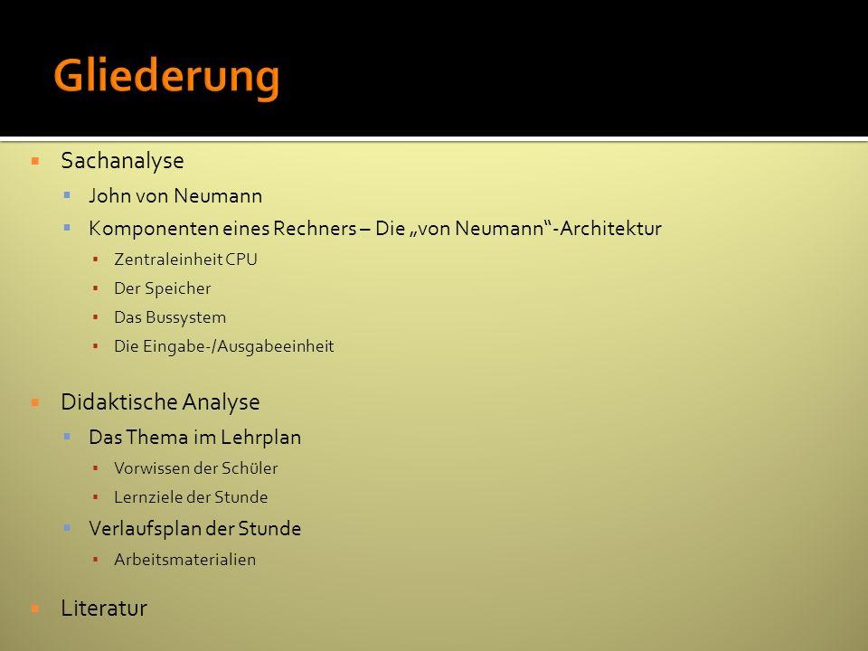 Sachanalyse John von Neumann Komponenten eines Rechners – Die von Neumann-Architektur Zentraleinheit CPU Der Speicher Das Bussystem Die Eingabe-/Ausga