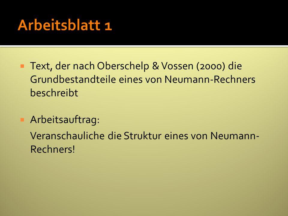 Text, der nach Oberschelp & Vossen (2000) die Grundbestandteile eines von Neumann-Rechners beschreibt Arbeitsauftrag: Veranschauliche die Struktur ein