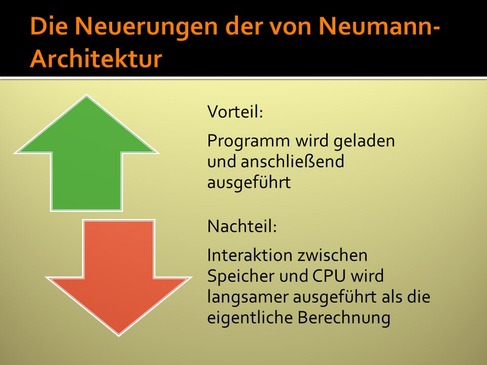 Vorteil: Programm wird geladen und anschließend ausgeführt Nachteil: Interaktion zwischen Speicher und CPU wird langsamer ausgeführt als die eigentlic