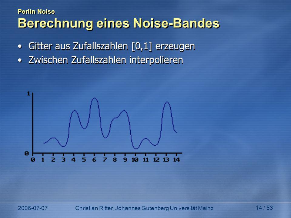 2006-07-07Christian Ritter, Johannes Gutenberg Universität Mainz 14 / 53 Perlin Noise Berechnung eines Noise-Bandes Gitter aus Zufallszahlen [0,1] erzeugen Zwischen Zufallszahlen interpolieren Gitter aus Zufallszahlen [0,1] erzeugen Zwischen Zufallszahlen interpolieren