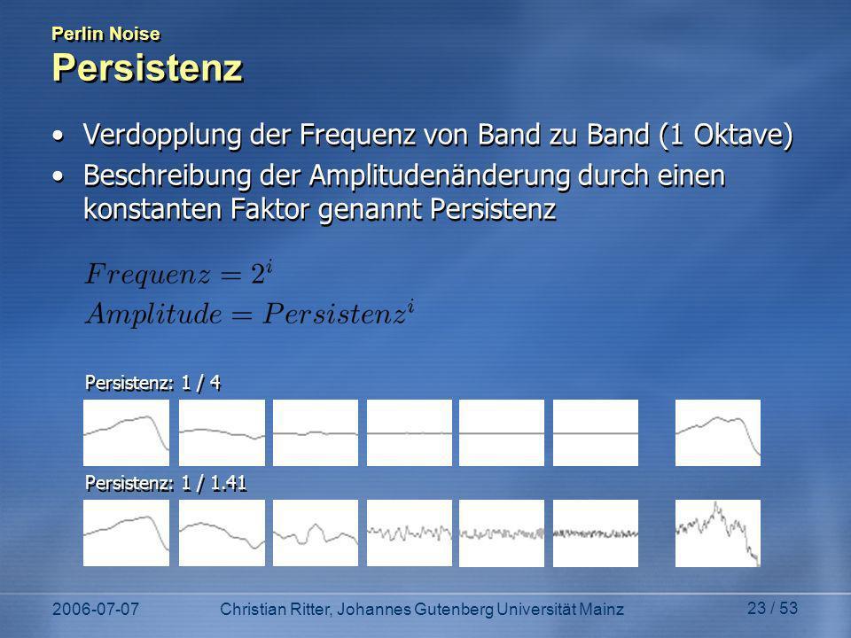 2006-07-07Christian Ritter, Johannes Gutenberg Universität Mainz 23 / 53 Perlin Noise Persistenz Verdopplung der Frequenz von Band zu Band (1 Oktave) Beschreibung der Amplitudenänderung durch einen konstanten Faktor genannt Persistenz Verdopplung der Frequenz von Band zu Band (1 Oktave) Beschreibung der Amplitudenänderung durch einen konstanten Faktor genannt Persistenz Persistenz: 1 / 1.41 Persistenz: 1 / 4