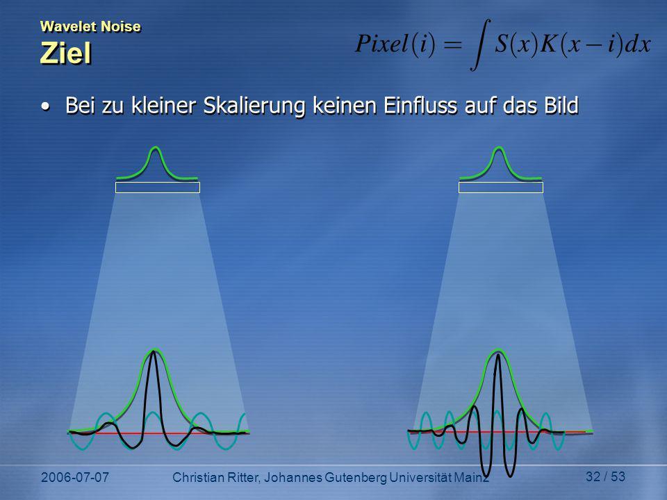2006-07-07Christian Ritter, Johannes Gutenberg Universität Mainz 32 / 53 Wavelet Noise Ziel Bei zu kleiner Skalierung keinen Einfluss auf das Bild