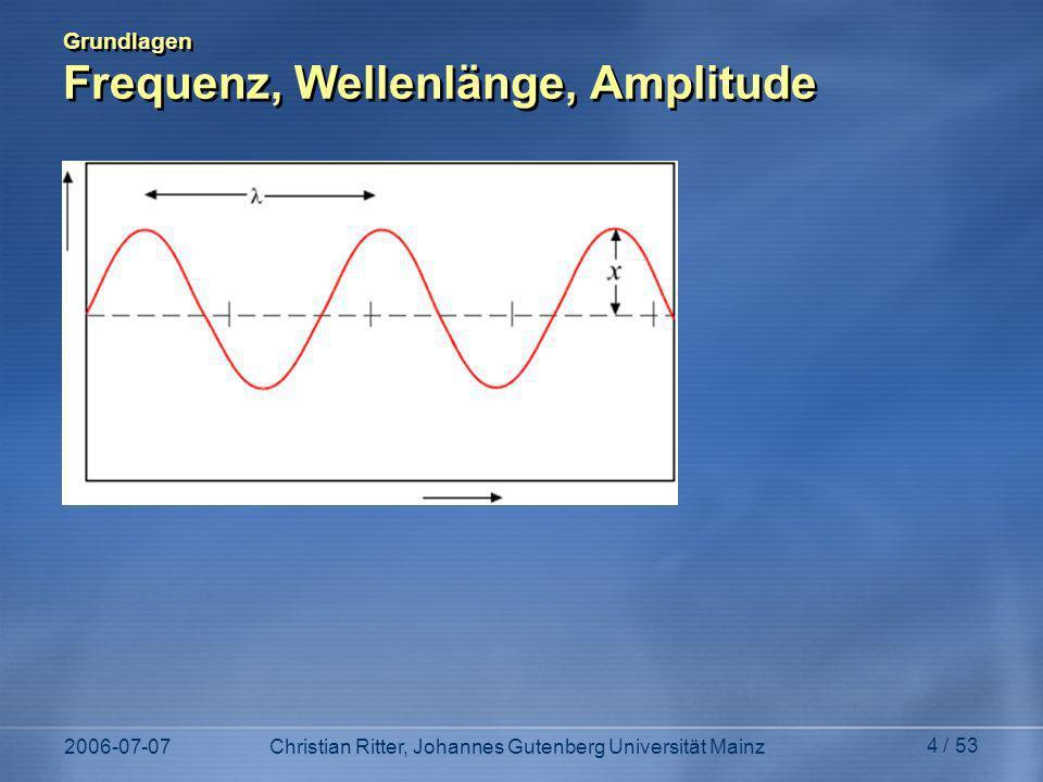 2006-07-07Christian Ritter, Johannes Gutenberg Universität Mainz 4 / 53 Grundlagen Frequenz, Wellenlänge, Amplitude