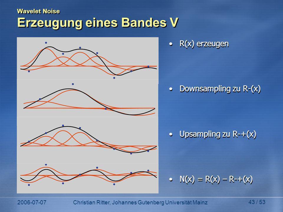 2006-07-07Christian Ritter, Johannes Gutenberg Universität Mainz 43 / 53 Wavelet Noise Erzeugung eines Bandes V R(x) erzeugen Downsampling zu R-(x) Upsampling zu R-+(x) N(x) = R(x) – R-+(x) R(x) erzeugen Downsampling zu R-(x) Upsampling zu R-+(x) N(x) = R(x) – R-+(x)