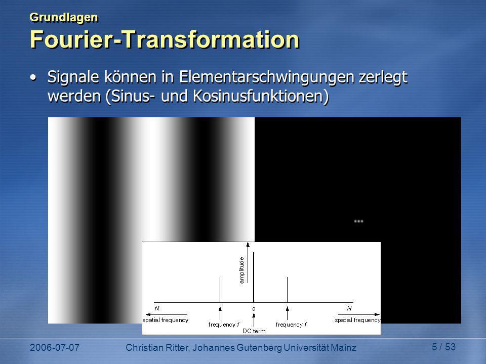 2006-07-07Christian Ritter, Johannes Gutenberg Universität Mainz 5 / 53 Grundlagen Fourier-Transformation Signale können in Elementarschwingungen zerlegt werden (Sinus- und Kosinusfunktionen)