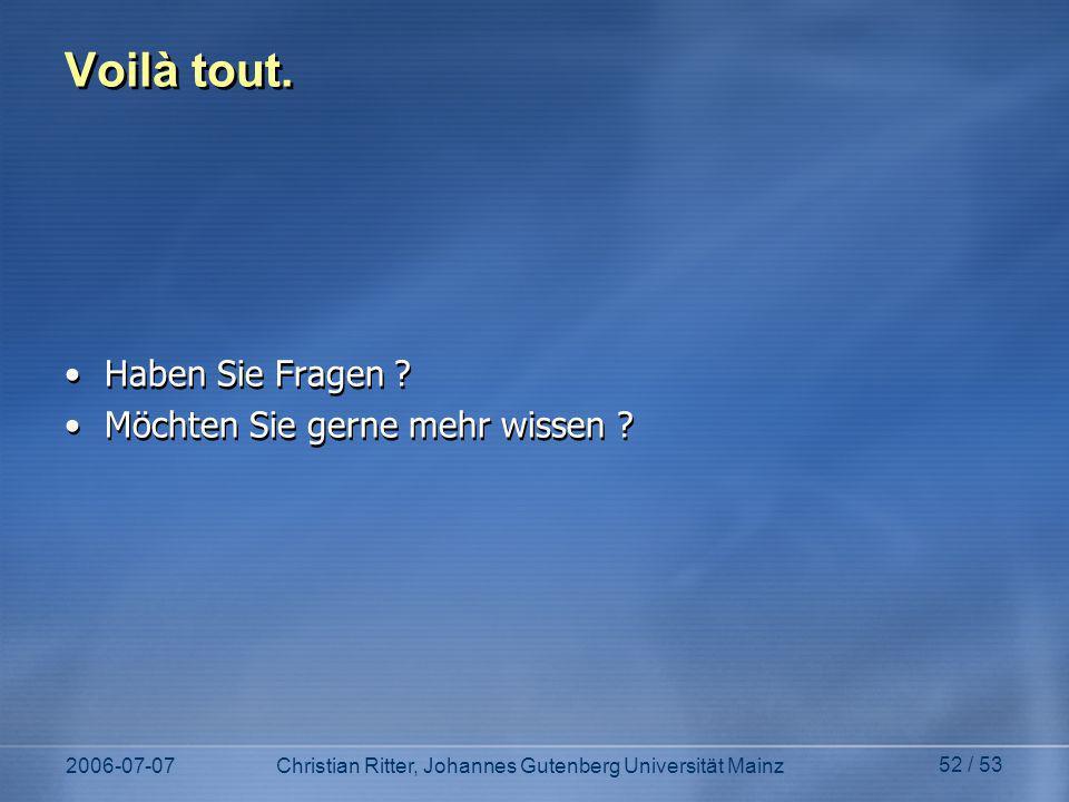 2006-07-07Christian Ritter, Johannes Gutenberg Universität Mainz 52 / 53 Voilà tout.