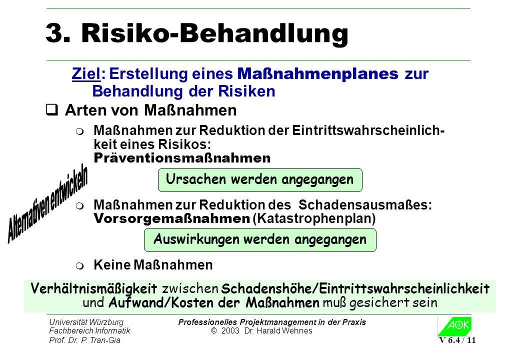 Universität Würzburg Professionelles Projektmanagement in der Praxis Fachbereich Informatik © 2003 Dr. Harald Wehnes Prof. Dr. P. Tran-Gia V 6.4 / 11