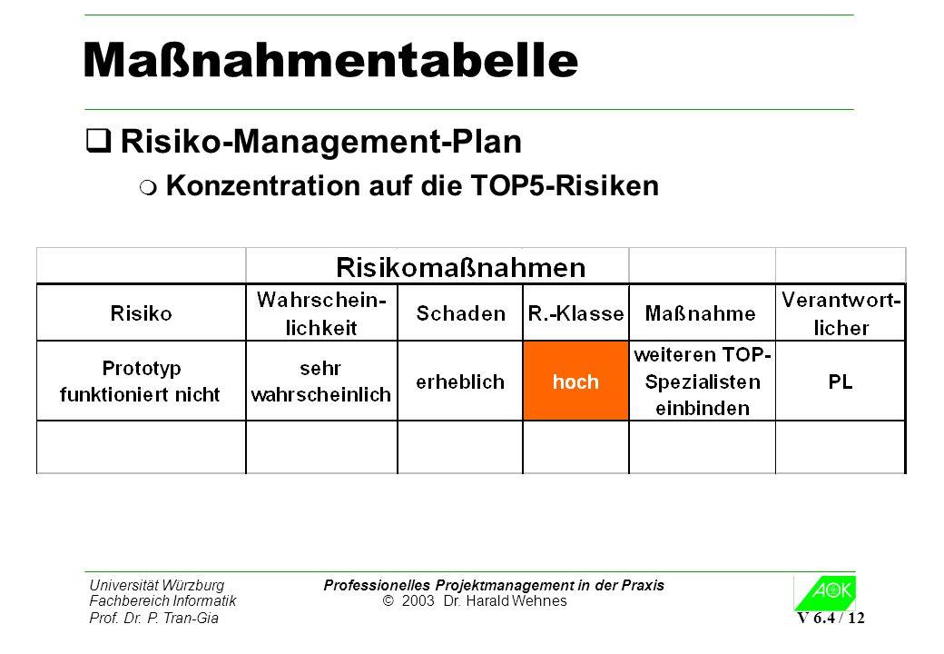 Universität Würzburg Professionelles Projektmanagement in der Praxis Fachbereich Informatik © 2003 Dr. Harald Wehnes Prof. Dr. P. Tran-Gia V 6.4 / 12