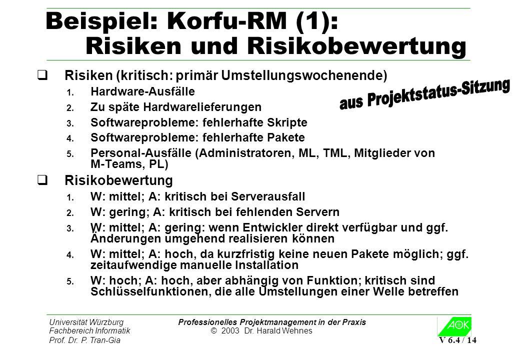 Universität Würzburg Professionelles Projektmanagement in der Praxis Fachbereich Informatik © 2003 Dr. Harald Wehnes Prof. Dr. P. Tran-Gia V 6.4 / 14