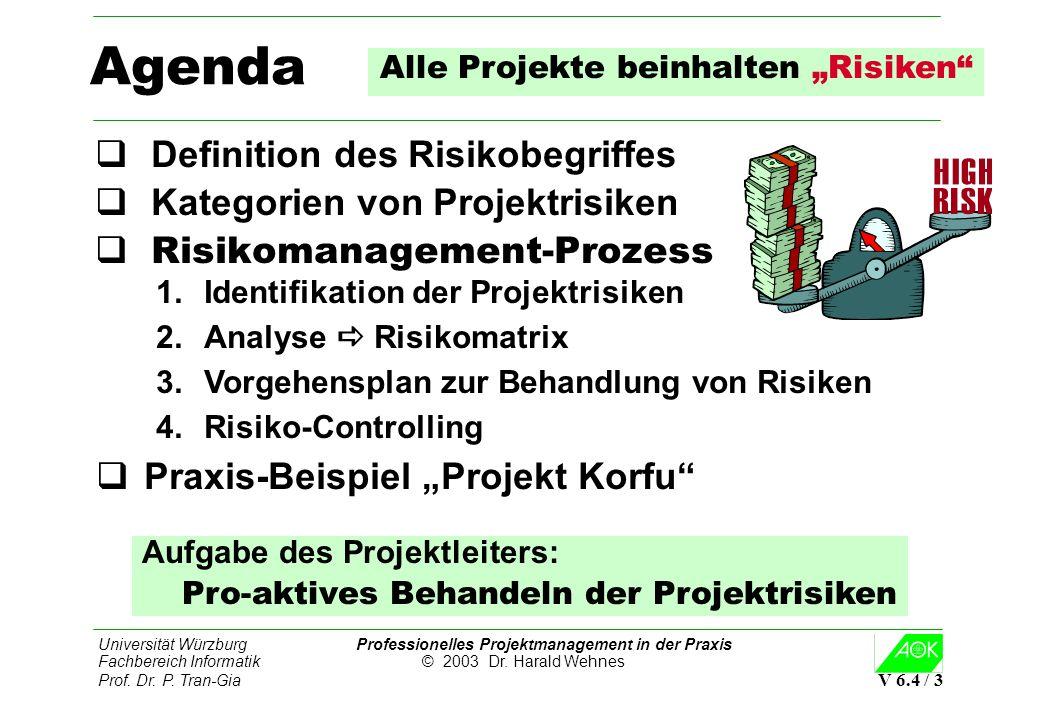 Universität Würzburg Professionelles Projektmanagement in der Praxis Fachbereich Informatik © 2003 Dr. Harald Wehnes Prof. Dr. P. Tran-Gia V 6.4 / 3 A