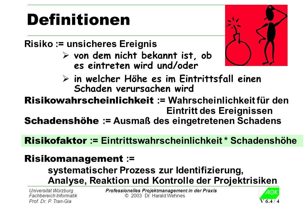 Universität Würzburg Professionelles Projektmanagement in der Praxis Fachbereich Informatik © 2003 Dr. Harald Wehnes Prof. Dr. P. Tran-Gia V 6.4 / 4 D