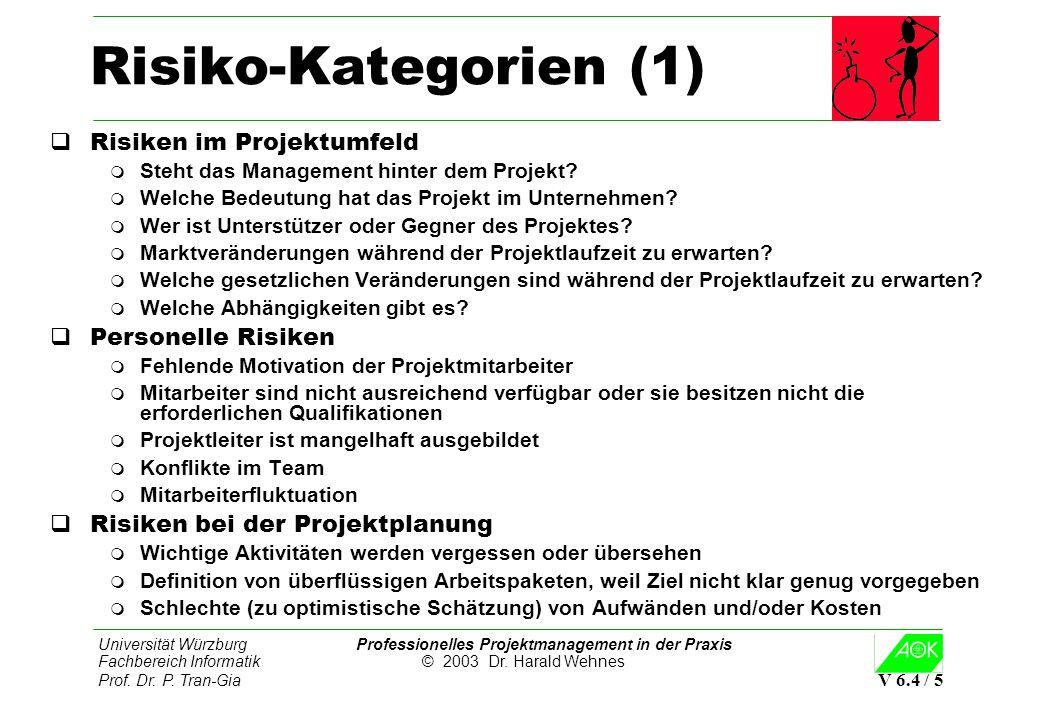 Universität Würzburg Professionelles Projektmanagement in der Praxis Fachbereich Informatik © 2003 Dr. Harald Wehnes Prof. Dr. P. Tran-Gia V 6.4 / 5 R