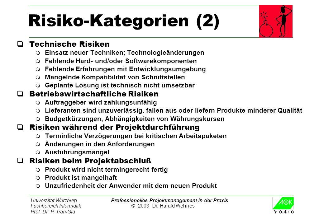 Universität Würzburg Professionelles Projektmanagement in der Praxis Fachbereich Informatik © 2003 Dr. Harald Wehnes Prof. Dr. P. Tran-Gia V 6.4 / 6 R
