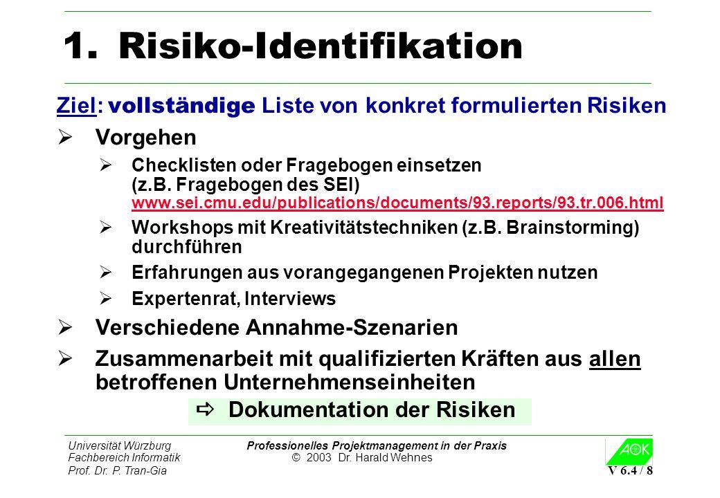 Universität Würzburg Professionelles Projektmanagement in der Praxis Fachbereich Informatik © 2003 Dr. Harald Wehnes Prof. Dr. P. Tran-Gia V 6.4 / 8 1