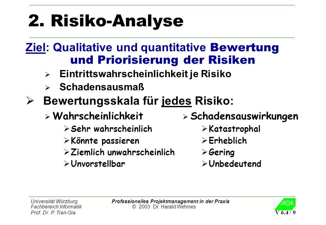 Universität Würzburg Professionelles Projektmanagement in der Praxis Fachbereich Informatik © 2003 Dr. Harald Wehnes Prof. Dr. P. Tran-Gia V 6.4 / 9 2