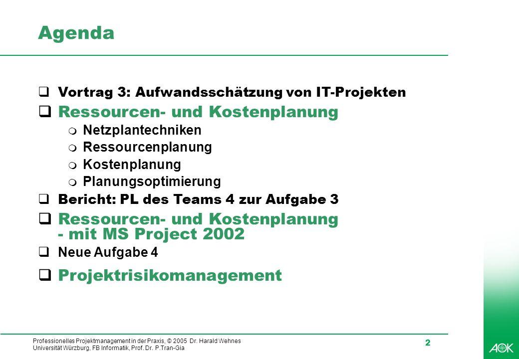 Professionelles Projektmanagement in der Praxis, © 2005 Dr. Harald Wehnes Universität Würzburg, FB Informatik, Prof. Dr. P.Tran-Gia 2 Agenda qVortrag