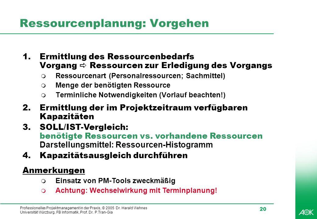 Professionelles Projektmanagement in der Praxis, © 2005 Dr. Harald Wehnes Universität Würzburg, FB Informatik, Prof. Dr. P.Tran-Gia 20 Ressourcenplanu