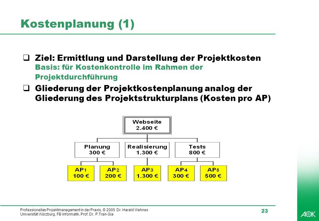 Professionelles Projektmanagement in der Praxis, © 2005 Dr. Harald Wehnes Universität Würzburg, FB Informatik, Prof. Dr. P.Tran-Gia 23 Kostenplanung (