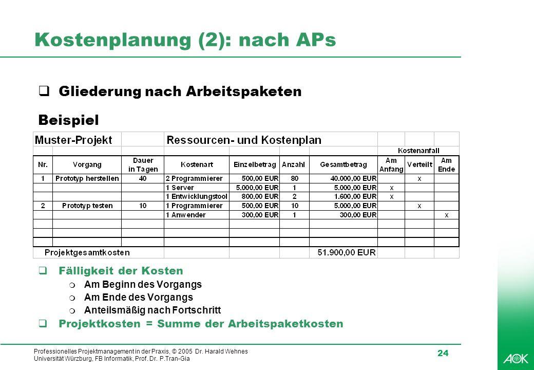 Professionelles Projektmanagement in der Praxis, © 2005 Dr. Harald Wehnes Universität Würzburg, FB Informatik, Prof. Dr. P.Tran-Gia 24 Kostenplanung (