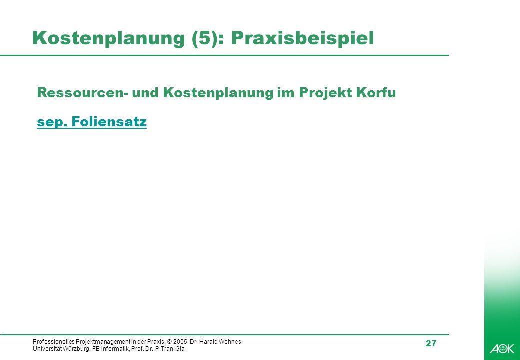 Professionelles Projektmanagement in der Praxis, © 2005 Dr. Harald Wehnes Universität Würzburg, FB Informatik, Prof. Dr. P.Tran-Gia 27 Kostenplanung (