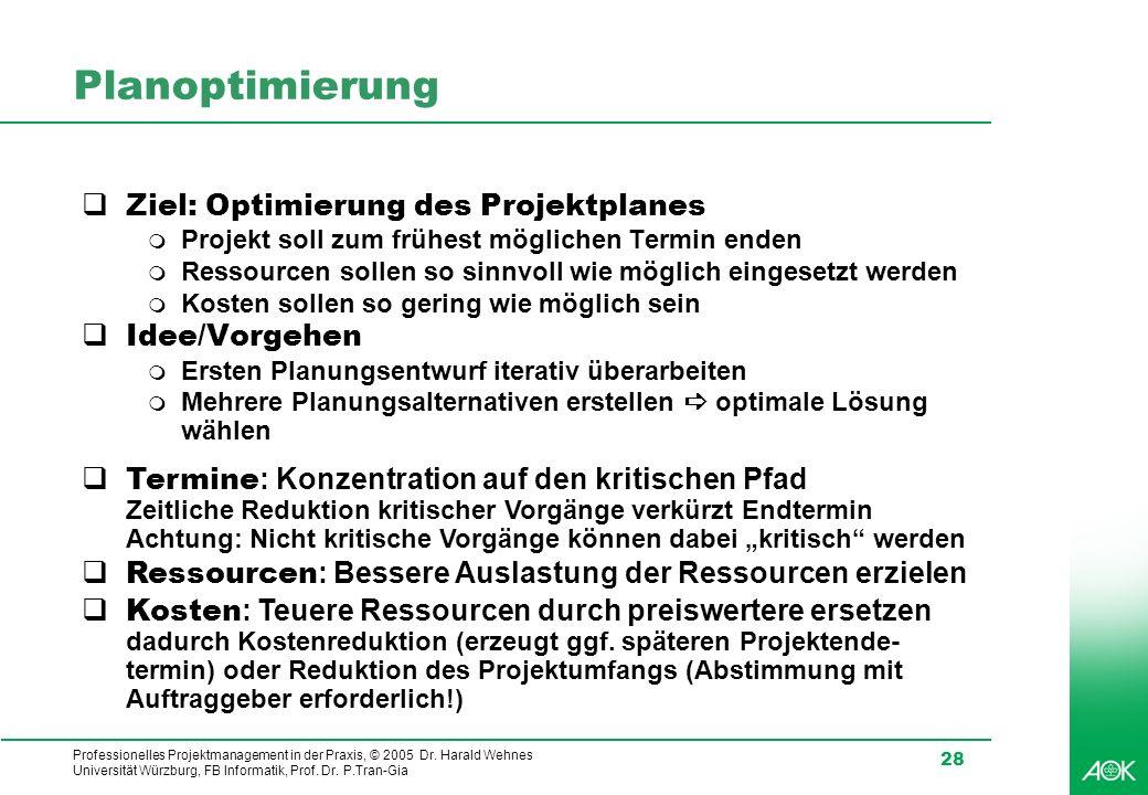 Professionelles Projektmanagement in der Praxis, © 2005 Dr. Harald Wehnes Universität Würzburg, FB Informatik, Prof. Dr. P.Tran-Gia 28 Planoptimierung