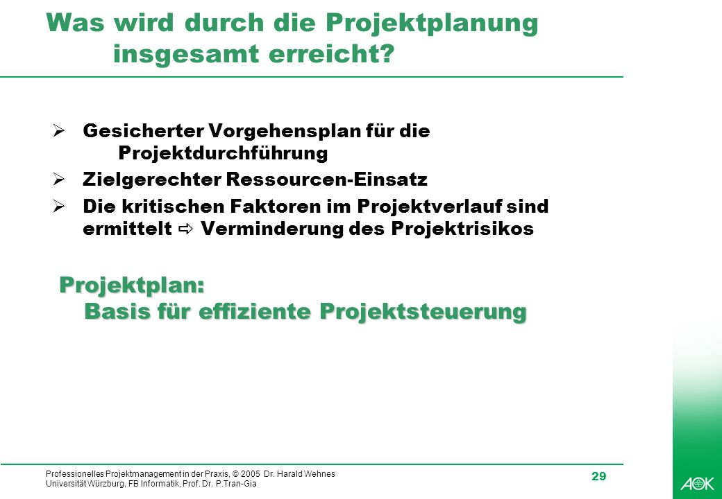 Professionelles Projektmanagement in der Praxis, © 2005 Dr. Harald Wehnes Universität Würzburg, FB Informatik, Prof. Dr. P.Tran-Gia 29 Was wird durch