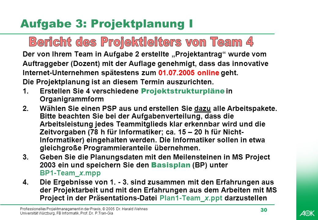 Professionelles Projektmanagement in der Praxis, © 2005 Dr. Harald Wehnes Universität Würzburg, FB Informatik, Prof. Dr. P.Tran-Gia 30 Aufgabe 3: Proj