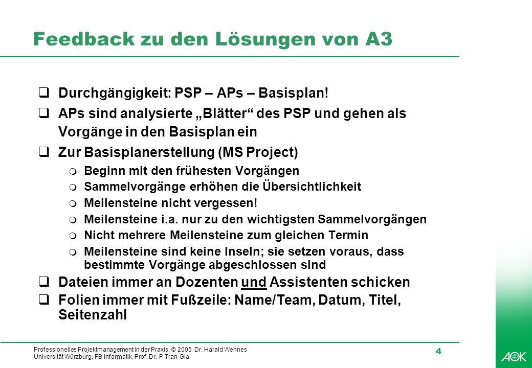 Professionelles Projektmanagement in der Praxis, © 2005 Dr. Harald Wehnes Universität Würzburg, FB Informatik, Prof. Dr. P.Tran-Gia 4 Feedback zu den