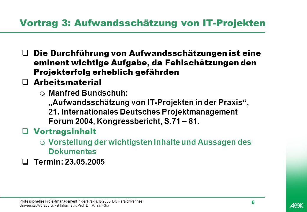 Professionelles Projektmanagement in der Praxis, © 2005 Dr. Harald Wehnes Universität Würzburg, FB Informatik, Prof. Dr. P.Tran-Gia 6 Vortrag 3: Aufwa