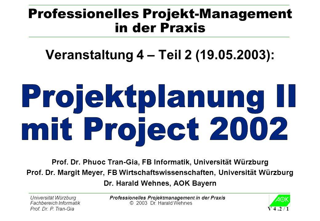 Universität Würzburg Professionelles Projektmanagement in der Praxis Fachbereich Informatik © 2003 Dr. Harald Wehnes Prof. Dr. P. Tran-Gia V 4.2 / 1 P