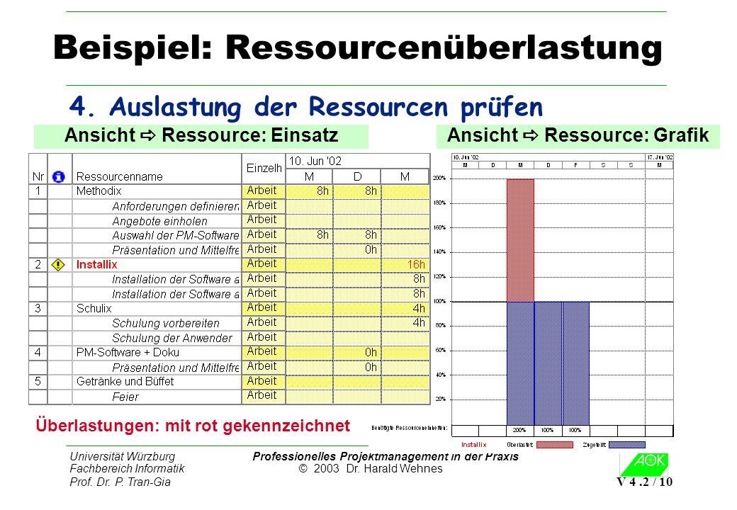Universität Würzburg Professionelles Projektmanagement in der Praxis Fachbereich Informatik © 2003 Dr. Harald Wehnes Prof. Dr. P. Tran-Gia V 4.2 / 10
