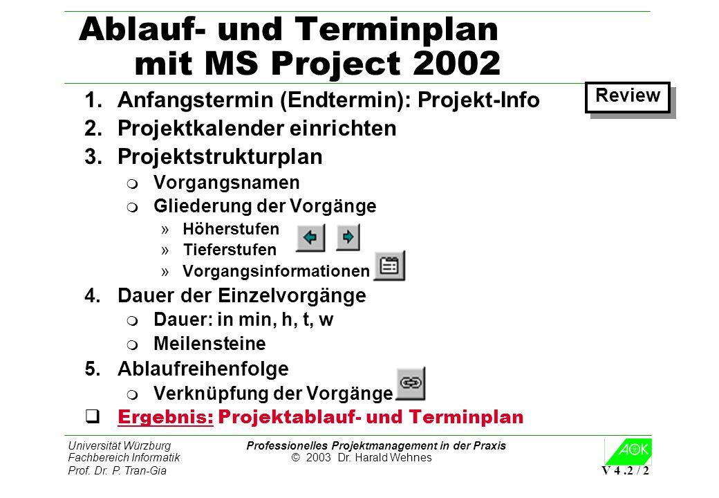 Universität Würzburg Professionelles Projektmanagement in der Praxis Fachbereich Informatik © 2003 Dr. Harald Wehnes Prof. Dr. P. Tran-Gia V 4.2 / 2 A